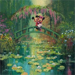 "James Coleman Signed and Numbered Gicl�e on Canvas Hand-Embellished with Painted Accents: ""Mickey and Minnie at Giverny """