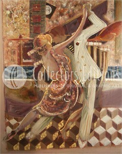 Sabzi Limited Edition Embellished Serigraph on Canvas :&quot;Tango II &quot;
