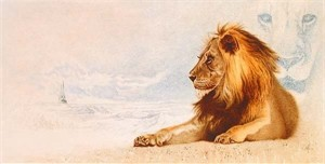 "Mike Kupa Handsigned and Numbered Limited Edition Giclee on Canvas: ""The Great Lion/Narnia """