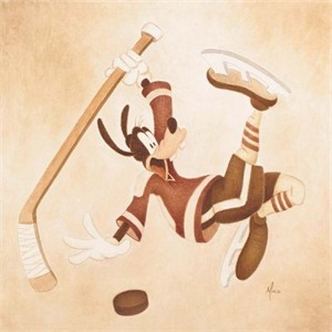 "Mike Kupa Handsigned and Numbered Limited Edition Giclee on Canvas: ""Sports Series - Cross Check"""