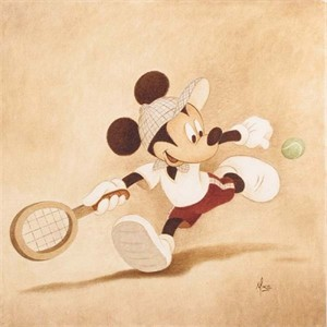 "Mike Kupa Handsigned and Numbered Limited Edition Giclee on Canvas: ""Sports Series -  Cross Court"""