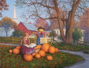 "Robert Duncan Handsigned and Numbered Limited Edition Giclee on Canvas:""Pumpkins for Sale"""