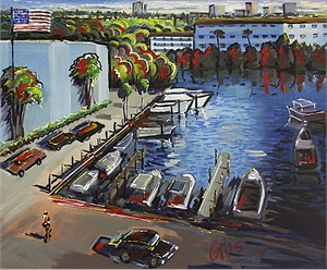 "Gaspar Cunha Open Edition Giclee on Canvas:""Boats Parking & Marina"""