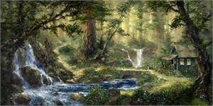 "James Coleman Handsigned and Numbered Limited Edition Embellished Giclee on Canvas:""Natures Serenity"""