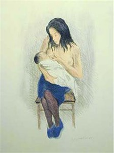 Raphel Soyer  Hand Signed Publisher Proof Lithograph:&quot;Nursing Mother Blue Slippers&quot;