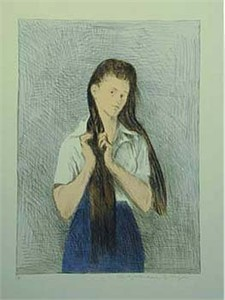 "Raphel Soyer  Hand Signed Publisher Proof Lithograph:""Girl, Long Hair Blue Skirt"""