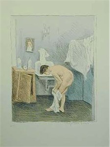 "Raphel Soyer  Hand Signed Publisher Proof Lithograph:""Nude Bathing"""