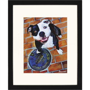 Malanta Knowles Designer Framed Print: &quot;Happy Staffie&quot;