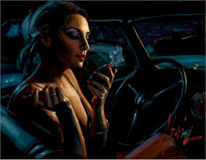 "Fabian Perez Handsigned and Numbered Limited Edition Embellished Giclee on Canvas: ""Darya in Car with Lipstick"""