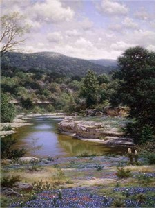 "Larry Dyke Hand Signed and Numbered Limited Edition Grande Edition Giclee on Canvas: ""Bluebonnets Along the Frio """