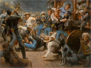 "Andy Thomas Handsigned and Numbered Limited Edition Giclee: ""Fight at the Watering Hole """