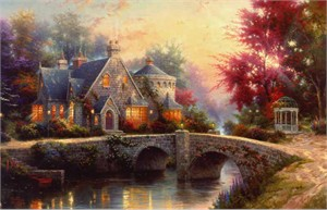 Thomas Kinkade Signed and Numbered Limited Edition Hand Embellished Canvas: &quot;Lamplight Manor&quot;