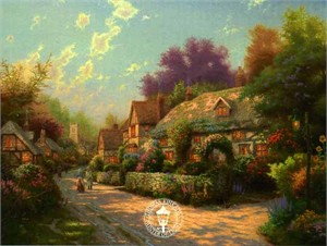 "Thomas Kinkade Signed and Numbered Limited Edition Canvas: ""Cobblestone Village"""