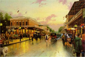 Thomas Kinkade Signed and Numbered Limited Edition Print and Canvas: &quot;Main Street Celebration&quot;