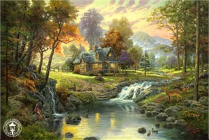 Thomas Kinkade Signed and Numbered Limited Edition Embellished Canvas:&quot;Mountain Retreat&quot;