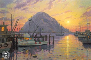 "Thomas Kinkade Signed and Numbered Limited Edition Hand Embellished  Canvas:""Morro Bay at Sunset"""