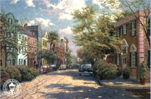 "Thomas Kinkade Signed and Numbered Limited Edition Canvas:""Rainbow Row, Charleston"""