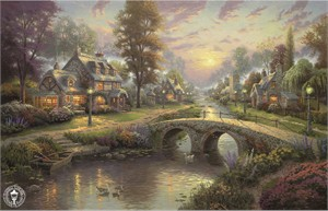 "Thomas Kinkade Signed and Numbered Limited Edition Print and Hand Embellished Canvas:""Sunset on Lamplight Lane"""