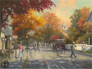 Thomas Kinkade Signed and Numbered Limited Edition Print and Hand Embellished Canvas: &quot;Autumn on Mackinac Island&quot;