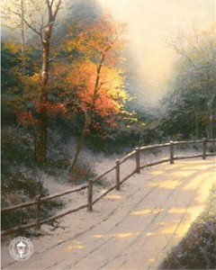 Thomas Kinkade Signed and Numbered Limited Edition Hand Embellished Canvas: &quot;First Snow&quot;