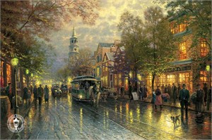 Thomas Kinkade Signed and Numbered Limited Edition Print and Hand Embellished Canvas:&quot;Evening on the Avenue&quot;