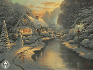 Thomas Kinkade Signed and Numbered Limited Edition Print and Hand Embellished Canvas:&quot;Christmas Evening&quot;