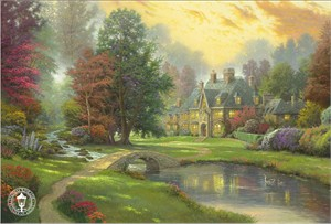 "Thomas Kinkade Signed and Numbered Limited Edition Hand Embellished Canvas:""Lakeside Manor"""