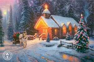 "Thomas Kinkade 2009 Christmas Limited Edition Print and Canvas :""Christmas Chapel I  - O Come All Ye Faithful "" Free TKCS Membership with Canvas Purchase."