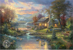 "Thomas Kinkade Signed and Numbered Limited Edition Giclee Print on Paper :""Nature's Paradise (Mountain Retreat III)"""