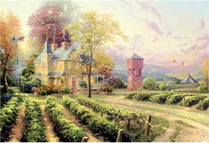 "Thomas Kinkade Signed and Numbered Limited Edition Print and Hand Embellished Canvas:""Abundant Harvest"""