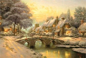 "Thomas Kinkade Signed and Numbered Limited Edition Hand Embellished Canvas :"" Cobblestone Christmas"""