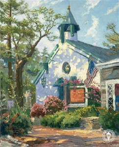"Thomas Kinkade Signed and Numbered Limited Edition Hand Embellished Canvas: "" Church of the Wayfarer"""