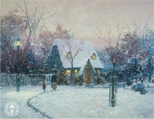 "Thomas Kinkade Countersigned  Robert Girrard Limited Edition Canvas: ""A Winter�s Cottage"""