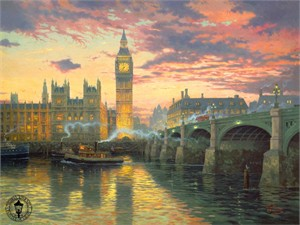 "Thomas Kinkade Signed and Numbered Limited Edition Print and Hand Embellished Canvas: ""London"""