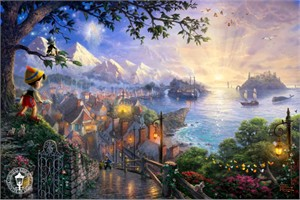 "Thomas Kinkade Disney Dreams Open Edition Framed Classic Canvas:""Pinocchio Wishes Upon A Star"""