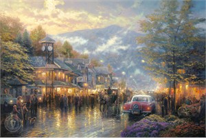 "Thomas Kinkade Signed and Numbered Limited Edition Print and Hand Embellished Canvas:""Mountain Memories"""