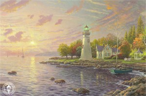 "Thomas Kinkade Signed and Numbered Limited Edition Print and Hand Embellished Canvas:"" Serenity Cove"""