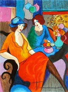 Itzchak Tarkay Hand Signed and Numbered Serigraph:&quot;Chit Chat&quot;