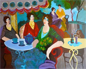 "Itzchak Tarkay Hand Signed and Numbered Serigraph:""Morning Tea"""
