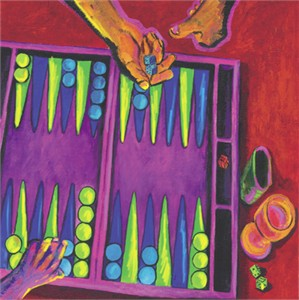 Consuelo Gamboa Limited Edition Canvas Giclee:&quot;Backgammon&quot;