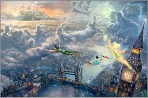 Thomas Kinkade Disney Dreams 24x36 Limited Edition Giclee Print on Paper:&quot;Tinker Bell And Peter Pan Fly To Neverland &quot;