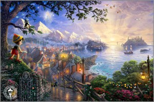 Thomas Kinkade Disney Dreams Limited Edition Giclee Print on Paper:&quot;Pinocchio Wishes Upon A Star&quot;