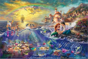 Thomas Kinkade Signed and Numbered Limited Edition Fine Art Print and Hand-Embellished with Painted Accents Giclee Canvas :&quot;Disney's Little Mermaid&quot;